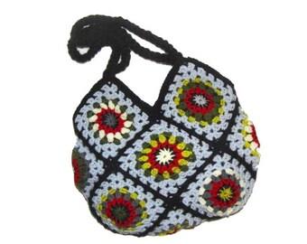Crochet Bag * RetrO BAG *  Granny Square,  Hippiebag, upcycled Bag,