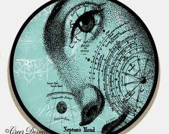ThermoSaf Woman's Face Astronomical Neptun Ephemera 10 inch Art Plate 100% Made in USA