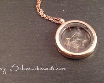Rose gold locket necklace flower