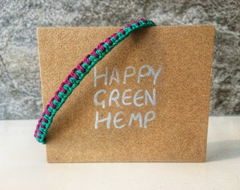 Hemp Braided Bracelet With Beaded Ties, Choose Your Own Colours