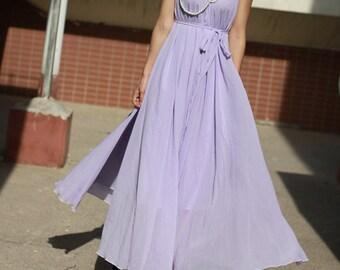 Plus size maxi dresses, Lavender maxi dress, Summer Dress, chiffon dress, loose fitting dress,Wedding Dress, Beach Dress, Bridesmaid dress