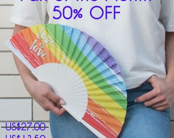 HAND FAN   Rainbow flag design   LGBT pride   gay pride   unique gift      fashion accessories   Free Shipping Worldwide
