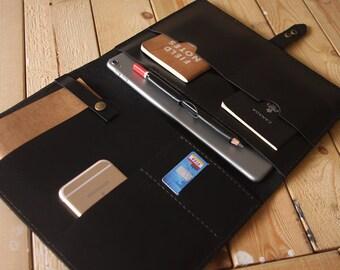 "Black leather New iPad Case portfolio, Apple Pencil Case, 10.5"" / 2018 9.7"" iPad Pro leather portfolio, Custom / 9.7"" 10.5"" 12.9"""