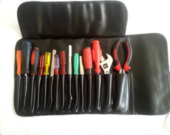 leather bag for tools.and makeup And many things are multiple.black high quality bobbi brown hand made