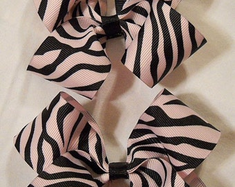 Pair of Pink Zebra Boutique Hairbows