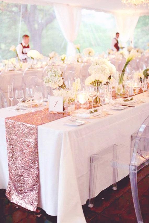 Fall Wedding 5ft Table Decor Rose Gold Sequin Table Runner For
