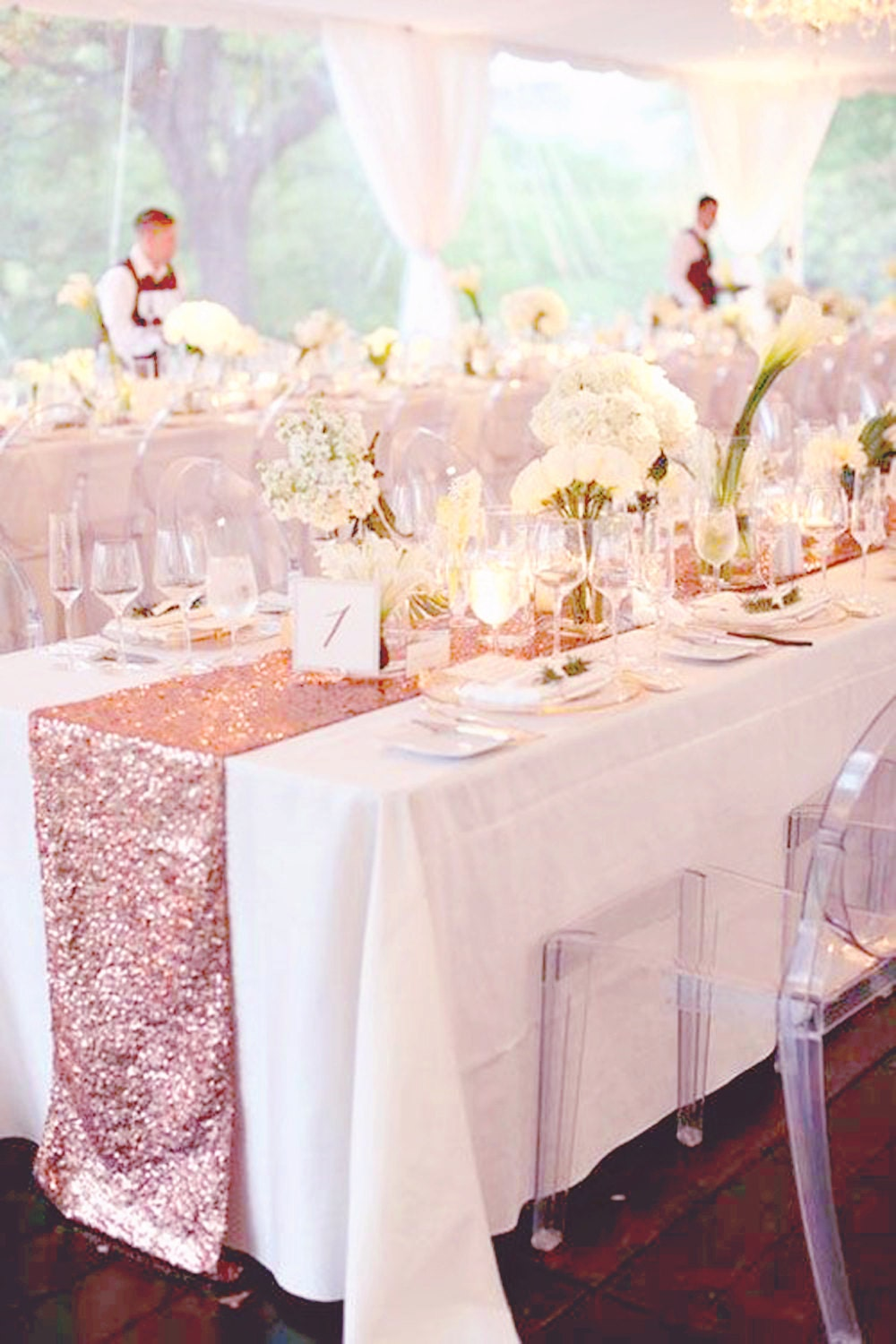 Fall Wedding 5ft Table Decor Rose Gold Sequin Table Runner For