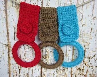 Kitchen Towel holder Set of 3 Red, Cafe Late Brown, Turquoise Blue, Crochet Dish Towel holder,  bathroom handtowel holder, Kitchen gift item