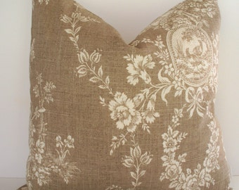 French Country Toile Pillow Cover, Waverly Floral Tan Waverly Country House Toile Linen BOTH SIDES 0