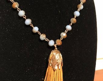 Camel colored tassel necklace
