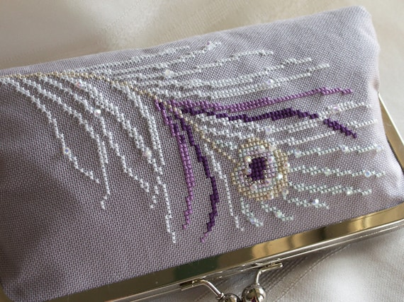 Handmade, hand cross stitched, beaded peacock clutch handbag. Purple, white, lavender. WHITE PEACOCK by Lella Rae on Etsy