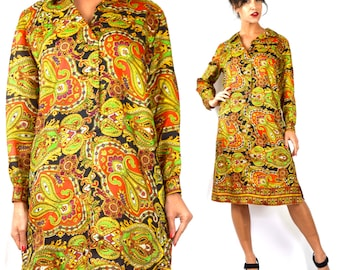 Vintage 60s 70s Psychedelic Paisley Shirt Dress (size large, xl)