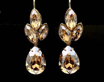 christmas prom bridal wedding bridesmaid gift Swarovski golden shadow fancy marquise flower crystal rhinestone gold teardrop hook earrings