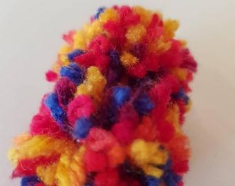 Handmade multi-coloured Pom Pom brooch