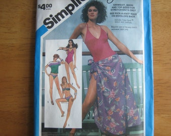 Simplicity Pattern 6390 Oleg Cassini Misses' Swimsuit, Bikini, Pullover Top or Pareu   1984    Unuct