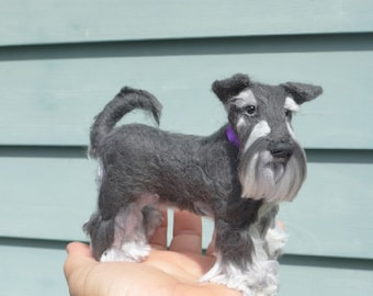 Personalized Pet Memorial / Needle Felted Dog / Custom Miniature Sculpture of your pet / Poseable / example Miniature Schnauzer