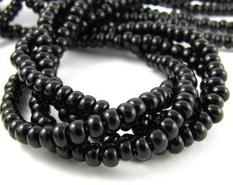 Jet Black Size 6/0 Czech Glass Seed Beads #1727