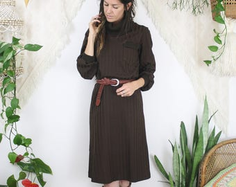 Deadstock 70s Knit Dress, Chocolate brown Rollneck Belted Sweater Dress, Medium 4227