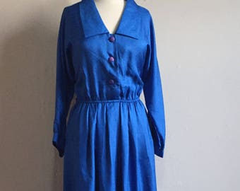 Vintage Andie Shirtdress | 80s does 50s Royal Blue Leslie Fay Dress | Plus Size XL XXL