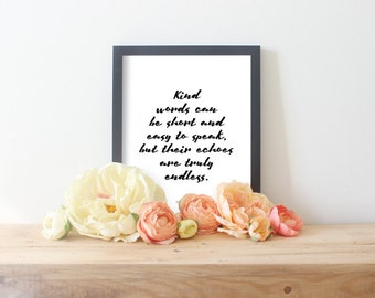 Kind Words Can Be Short // Be Kind Quotes // Kindness Poster