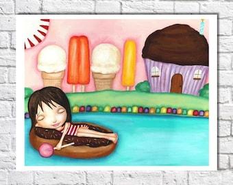 Whimsical Art Print For Nursery Sweet Dreams Print Bright Artwork Colorful Decor Baby Girl Room Art Pink Wall Art For Girl Horizontal Poster