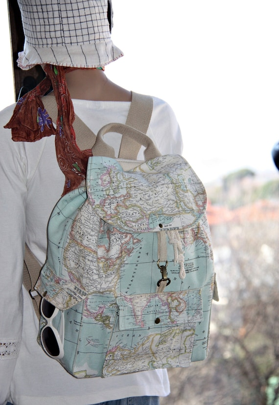 Two world map prints backpack for couples two atlas large two world map prints backpack for couples two atlas large backpacktravelschooldaily backpackunisex rucksack map gumiabroncs Images