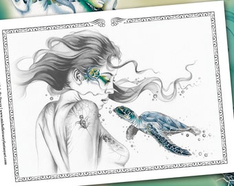 Grayscale Coloring Pages 'Sea Turtle Totem' (Package) - Fantasy, Sea Turtle, Animal, Digital Stamp, Greyscale Colouring For Adults, Art, pdf