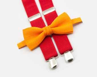 Orange Bow Tie & Red Suspenders Halloween Costume Toddler Bow Tie And Suspenders
