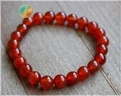 Red Agate Bracelet, 8mm Genuine Red Bracelet, Beaded gemstone stretch Bracelet, Unisex Bracelet, Yoga Bracelet, Healing, Red Agate jewelry