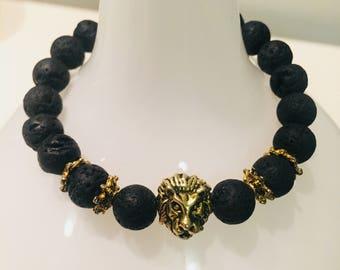 Gold Lion Head Lava Bead Bracelet
