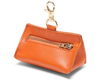 Leather Prism Pouch Orange