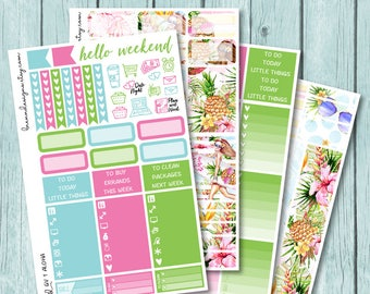Aloha Vertical Weekly Kit, Planner Stickers for use with ERIN CONDREN LIFEPLANNER™