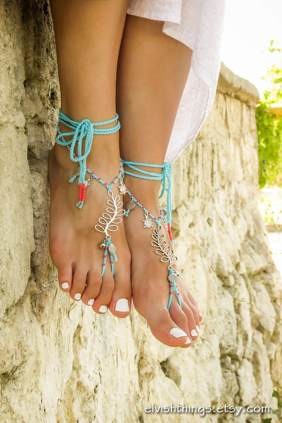wedding anklet and Foot barefoot toe bottomless Beach sandals with Barefoot jewelry sandals Beach tiny bells Turquoise sealife sandal beads EHSW77qU