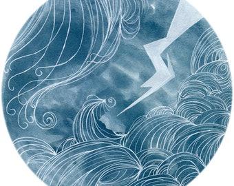 Original Painting. Original Artwork.  Gouache painting Indigo art. Japanese wave. Circle art modern painting original. Modern art