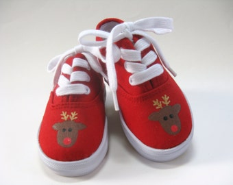 Boys Reindeer Shoes, Christmas Outfit, Red Holiday Sneakers Hand Painted for Baby or Toddler