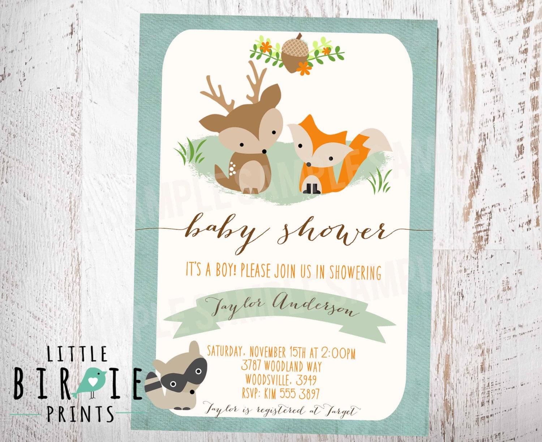 WOODLAND Baby Shower Invitation Fox Deer Raccoon BOY Rustic