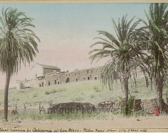 San Diego CA mission building in ruins antique tinted photo