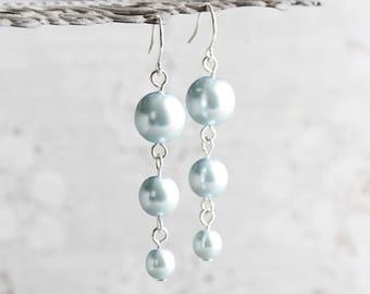 Pale Blue Earrings, Blue Pearl Earrings on Silver Plated Hooks, Light Blue Earrings, Blue Wedding Jewelry