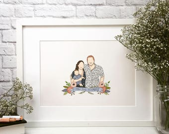 Family portrait in pen and ink. Personalised.
