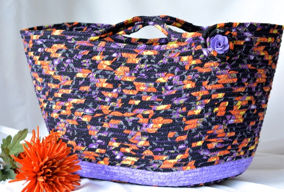 Halloween Rope Basket, Purple Tote Bag, Handmade Storage Basket, Lovely Shopping Basket, Fall Black Coiled Basket, Quilted Purse
