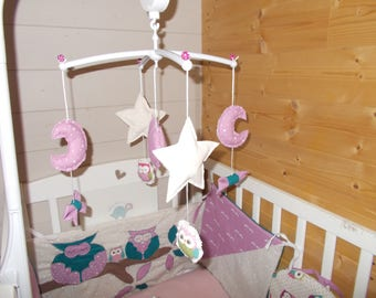 Musical heart baby mobile, knots, owl, owl, stars and moon. To order *.
