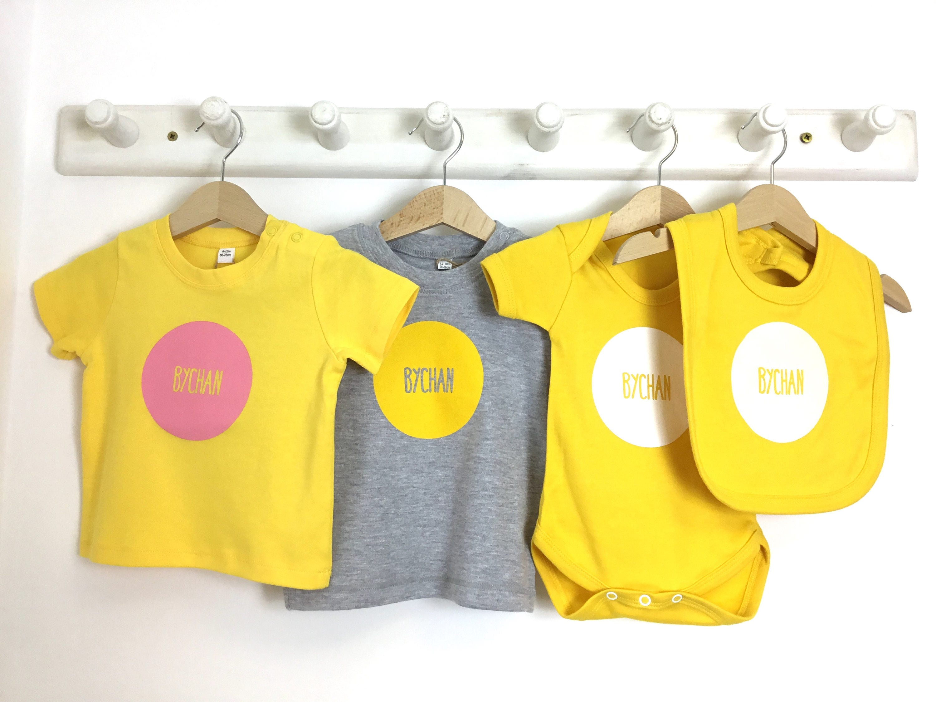 SALE Welsh Text Bychan Little Baby Clothes Light Grey T shirt Yellow