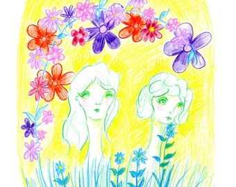 Awakening to Spring, Art Print, Coloured Pencil, Quirky Art, Outsider Art, Psychedelic, A4 /A5 /A6, Women, Flowers