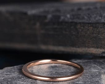 Rose Gold Wedding Band Eternity Plain Band Dainty Thin 1.35mm Wide Ring Minimalist Delicate Handmade Bridal Band Couple Anniversary Gift