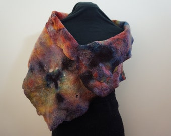 Cobweb felt shawl in rainbow hues