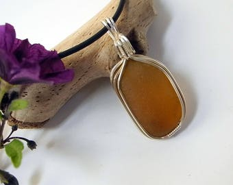 Golden Amber Sea Glass Pendant, Gift for Man or Woman, Beach Style Ocean Surfer Jewelry, Handmade in USA