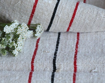 E 505: grainsack, antique linen,STRAWBERRY RED and BLACK;  benchcushion;wedding decoration;upholstery project,vintage,gift bag 45.67long