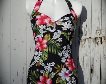 1950s Pin Up Girl Hibiscus Swimming Costume 10 12 14 16 18 - Retro Vtg Bikini Swimsuit Rockabilly