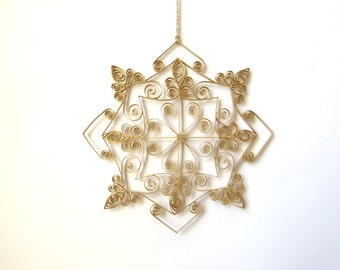 Golden Paper Snowflake, 6inch Paper Quilled Snowflake, Christmas Snowflake, Christmas Ornament, Quilled Christmas Decoration, Paper Quilling