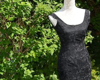 Vintage House of Fraser Black Lace Evening Dress Size 8